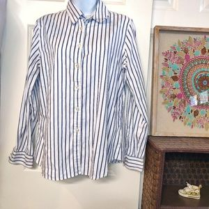 Charter Club White and blue stripped button down